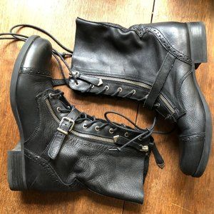 Aldo Black Leather Combat Moto Boots Dual Zipper
